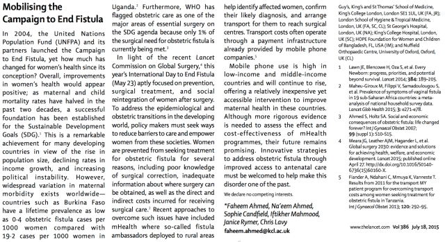The Lancet Mobilising the Campaign to End Fistula #mHealth