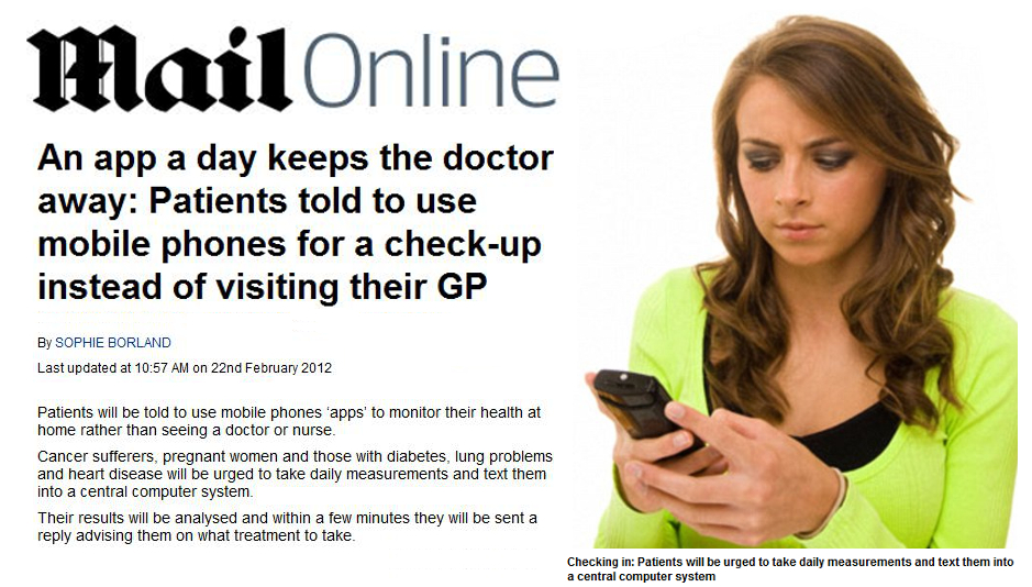 Patients told to use apps to check health