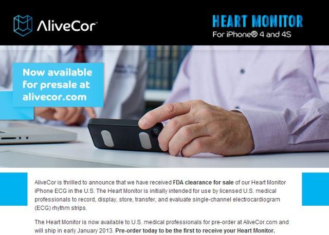 Alivecor Heart Monitor Press Release