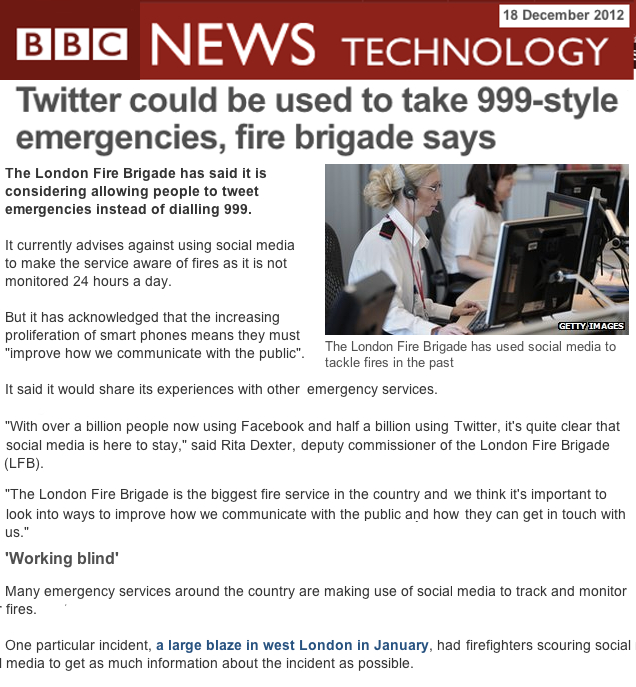 London Fire Brigade Looks to use Social Media for fire notifications