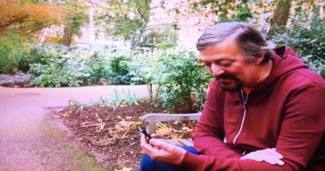 Stephen Fry in Berkeley Square making a 3G Facetime Mobile Video Call
