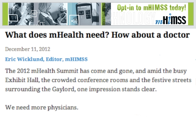 What does mhealth need how about a Doctor