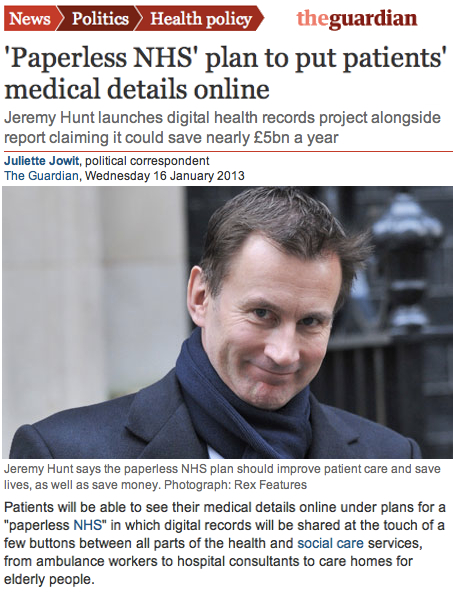 Guardian Paperless NHS Plans