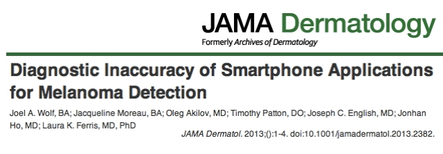 JAMA Dermatology Diagnostic Inaccuracy of Smartphone Applications for Melanoma Detection