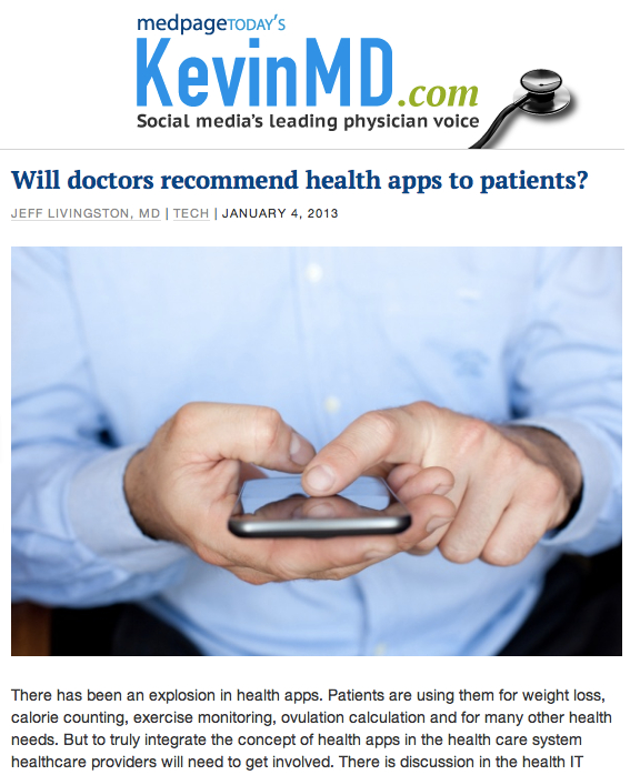 KevinMD Will Doctors recommend health apps to patients