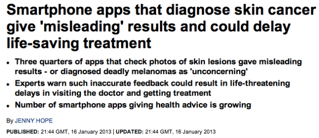 Daily Mail Smartphone apps that diagnose skin cancer give misleading results and could delay life saving treatment