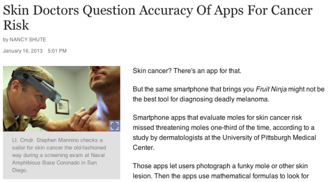NPR Skin Doctors Question Accuracy Of Apps For Cancer Risk