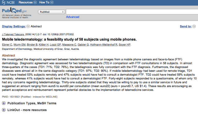 Mobile teledermatology: a feasibility study of 58 subjects using mobile phones