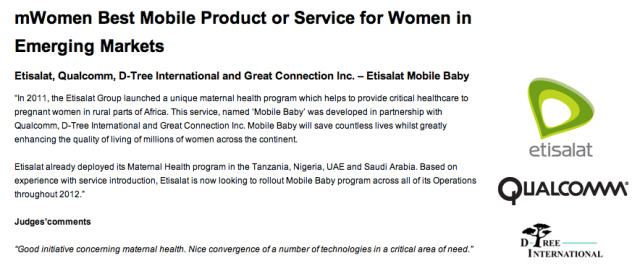 mWomen Best Mobile Product or Service for women in emerging markets