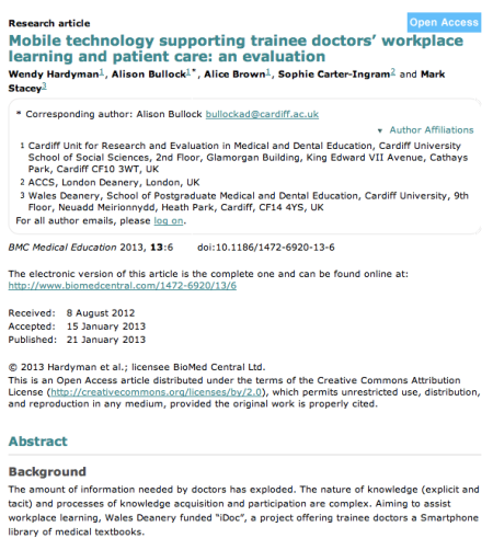 BMC Mobile technology supporting trainee doctors' workplace learning and patient care: an evaluation