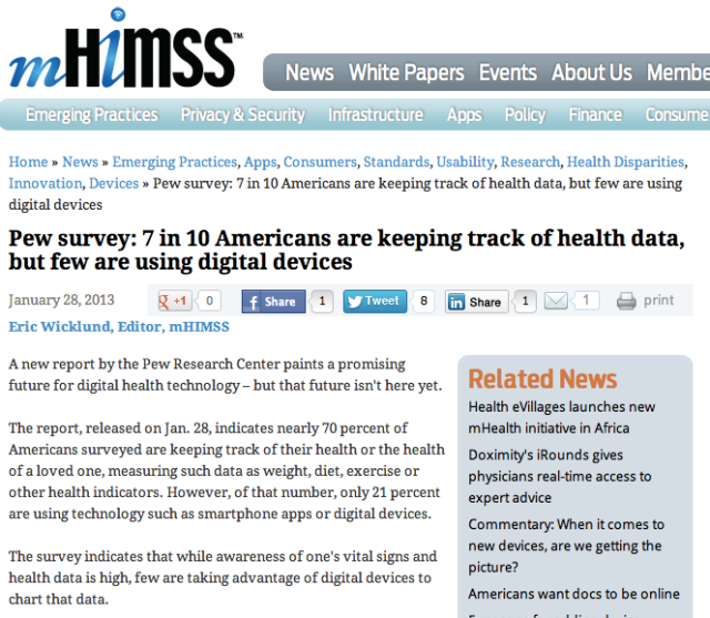 mHIMSS Pew Survey 7 in10 americans are keeping track health data but few are using digital devices