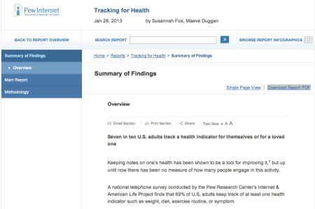 PewInternet Tracking for Health