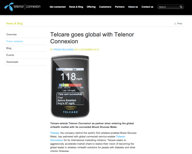 Telenor marketing M2M Telcare Blood Glucose Monitor