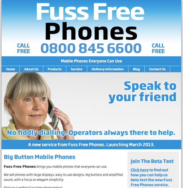Fuss Free Phones Website