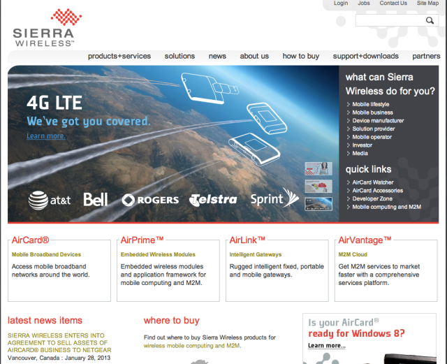 Sierra Wireless Website