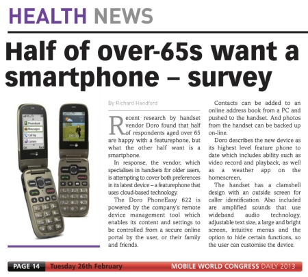 Doro Survey says half of over 65s want a smartphone