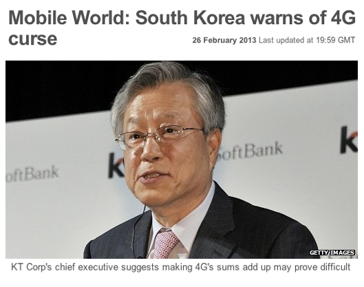 Mobile World Congress South Korea warns of 4G curse