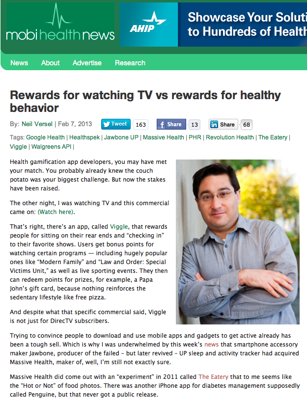 Neil Versal: Rewards for watching TV vs rewards for healthy behavior