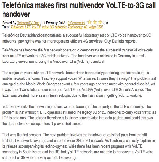 TelecomTV Telefónica makes first multivendor VoLTE-to-3G call handover