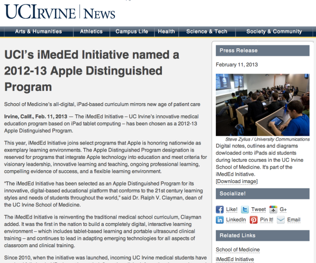 UCI's iMedEd Initiative named a 2012-13 Apple Distinguished Program