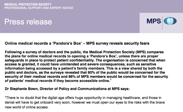 Online medical records a 'Pandora's Box' – MPS survey reveals security fears