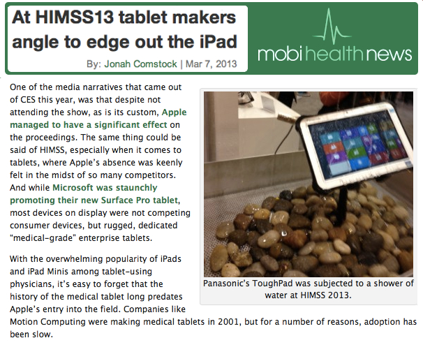 At HIMSS Tablet Makers angle to edge out the iPad