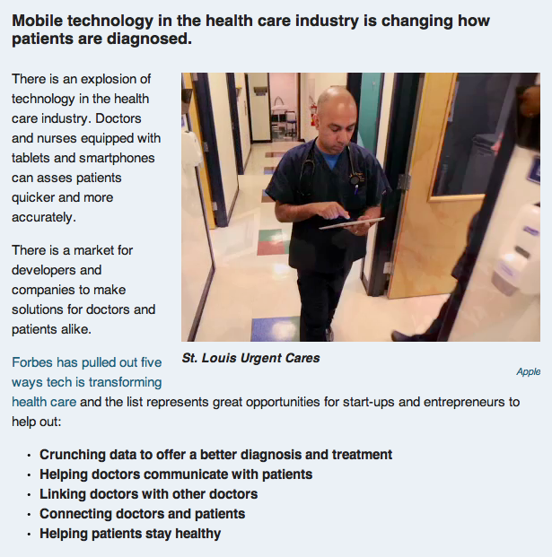 Business Insider Mobile Tech  in the Healthcare Industry