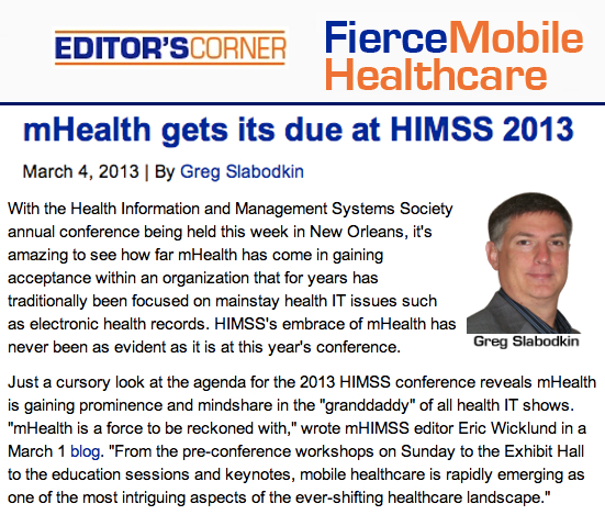 FierceMobileHealthcare mHealth gets its due at HIMSS 2013