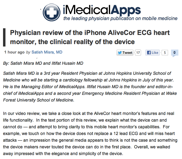 iMedicalApps Physician review of the iPhone AliveCor ECG