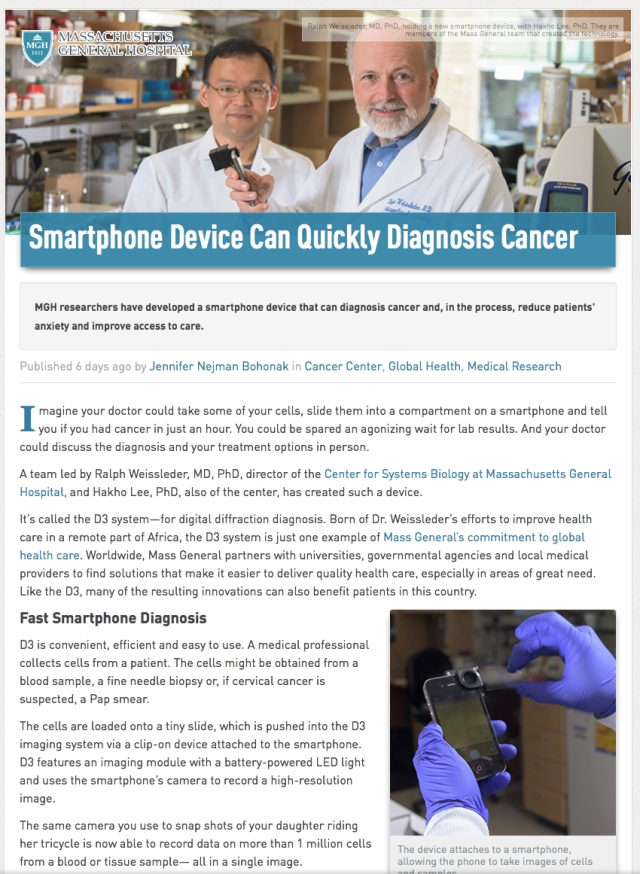 MassGen Hospital If you use a smartphone used as mircoscope it becomes Clinical Waste