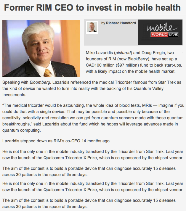 Mike Lazaridis and Doug Fregin to invest in mHealth