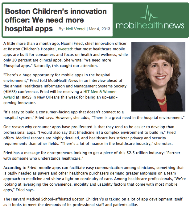 MobiHealthNews Naomi Fried Boston Childrens Innovation Officer