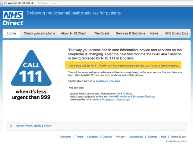 NHS DIrect Homepage Redirect 25 March 2013