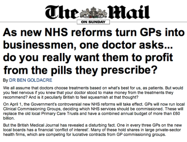 NHS Reforms to turn GPs into businessmen