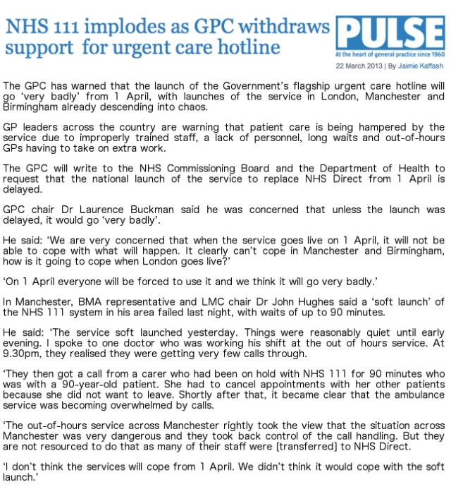 PULSE NHS 111 implodes as GPC withdraws support for urgent care hotline