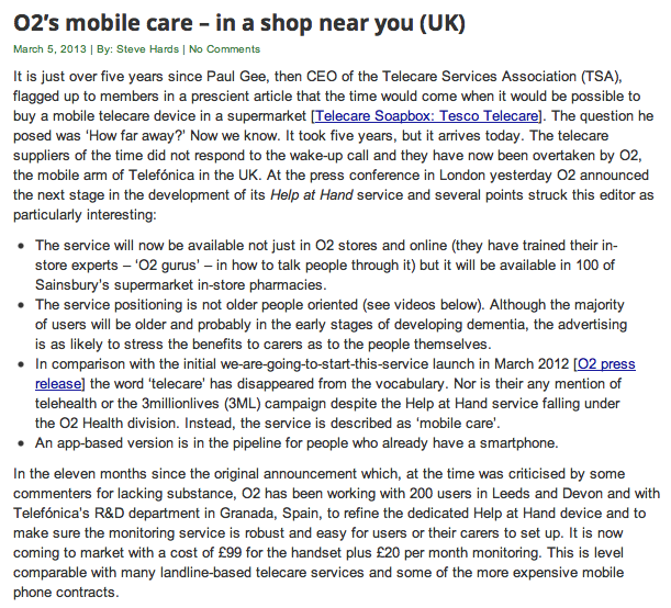 Telecare Aware O2 Mobile Care