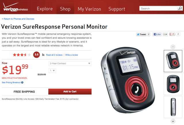 Verizon SureResponse Personal Monitor