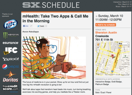 SXWS mHealth Take Two Apps & Call Me in the Morning