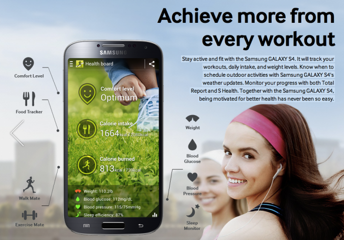 Samsung S Health on the GS4