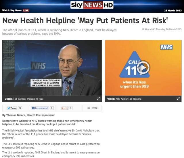 Sky News 111 helpline may put Patients at Risk