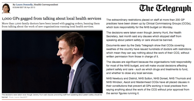 1000 GPs gagged from talking about local health services
