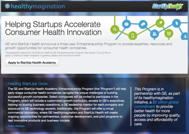 GE and Startup Health Academy Entrepreneurship Program