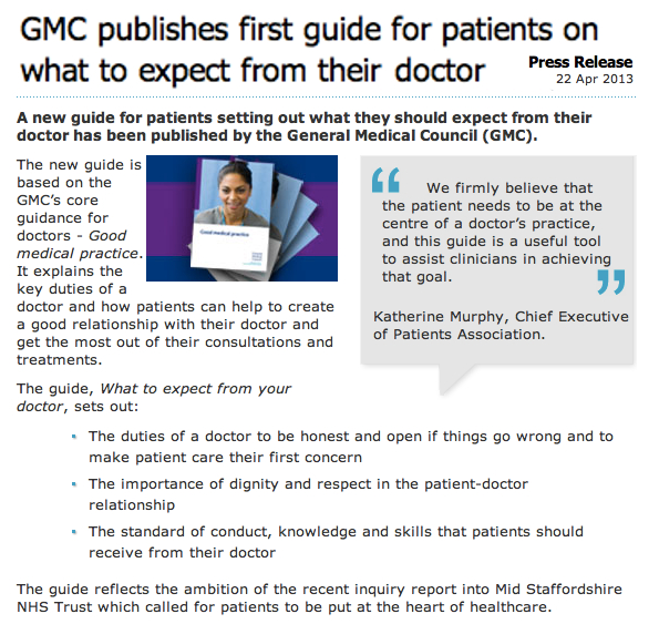 GMC publishes first guide for patients on what to expect from their doctor