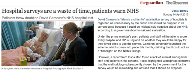 Patients warn NHS Hospital surveys are a waste of time