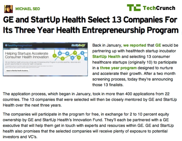 TechCrunch GE and Startup Health Select mHealth firms for 3 year Health Entrepreneurship Program