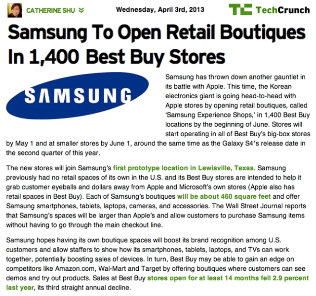 TechCrunch Samsung to open Retail Boutiques in 1400 BestBuy Stores