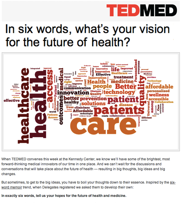TedMed In six words whats your vision for the future of health