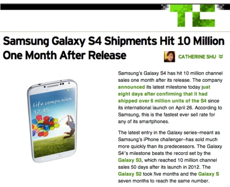 Record sales of Samsung GS4 with native mHealth apps makes Samsung the newest big Heathcare brand