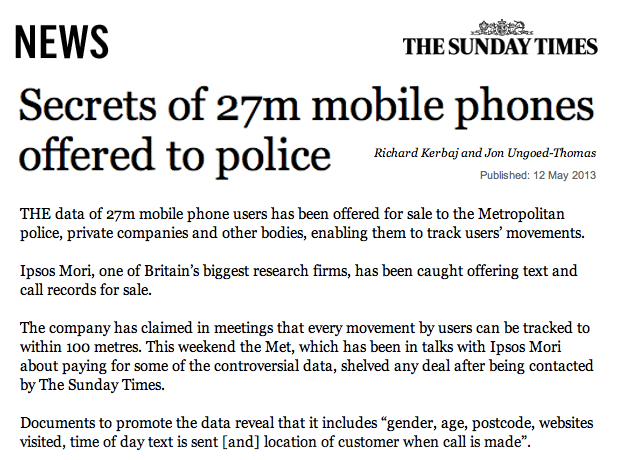 Sunday Times Secrets of 27m mobile phones offered to Police