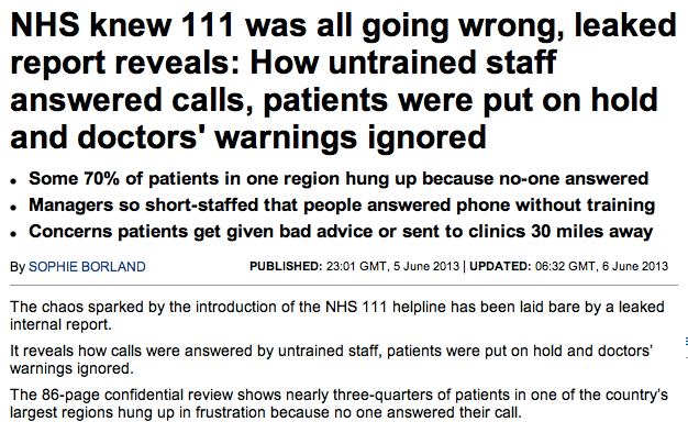 Daily Mail reporters seem to be much more appreciative of the value a Doctor can provide on the end of a phone line